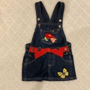Hand embroidered denim overalls